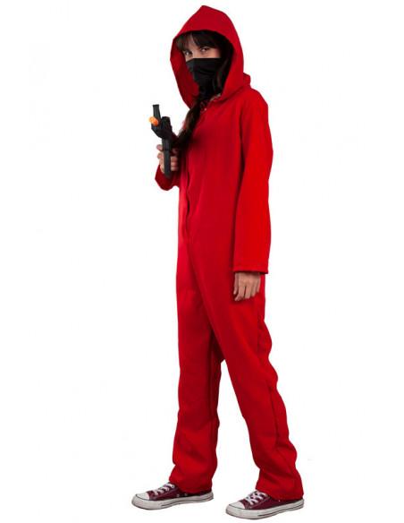 Mono rojo con capucha adulto chica lateral