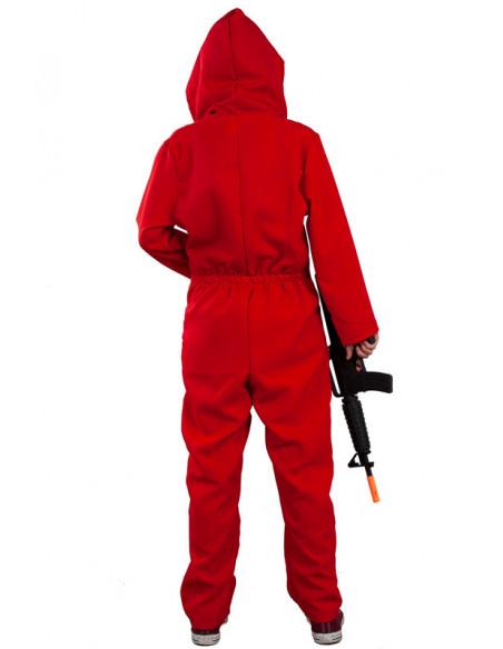 Mono rojo con capucha adulto chica trasera