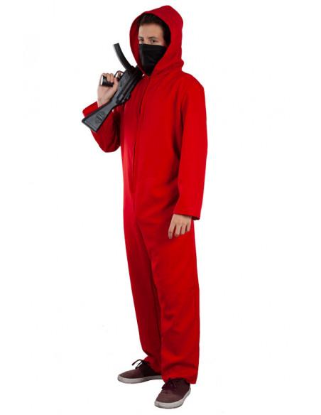 Mono rojo con capucha adulto chico lateral
