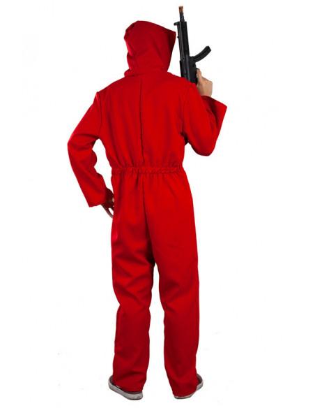 Mono rojo con capucha adulto trasera chico