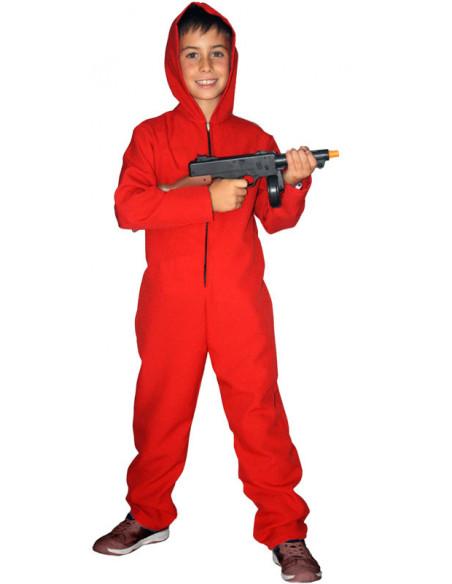 Mono rojo con capucha para nino