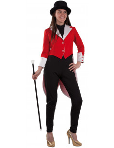 Traje frac femenino rojo