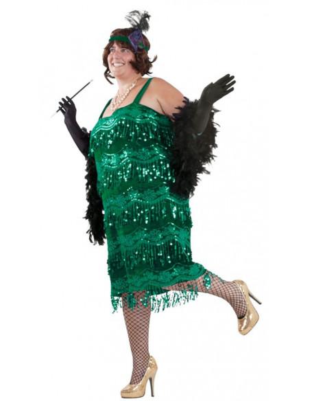 Disfraz charlestón talla grande verde