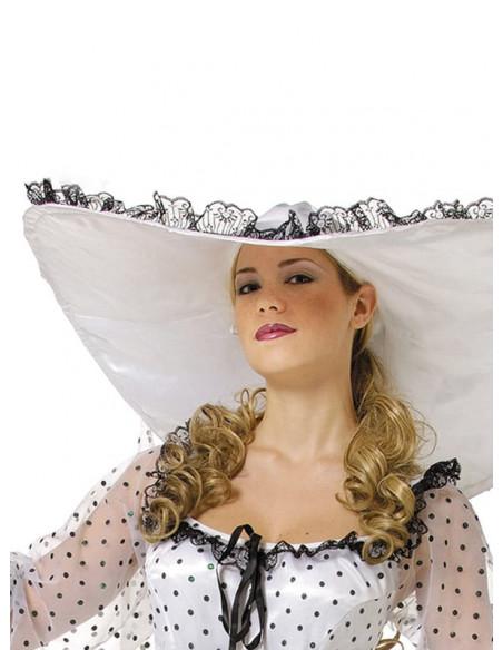 Disfraz de Escarlata para mujer detalle sombrero