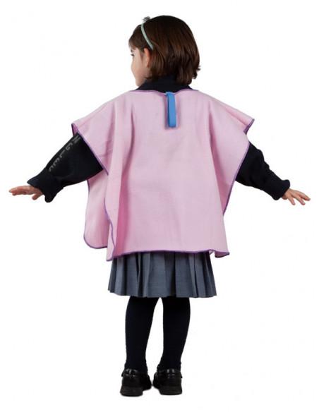 Poncho para el colegio infantil rosa espalda
