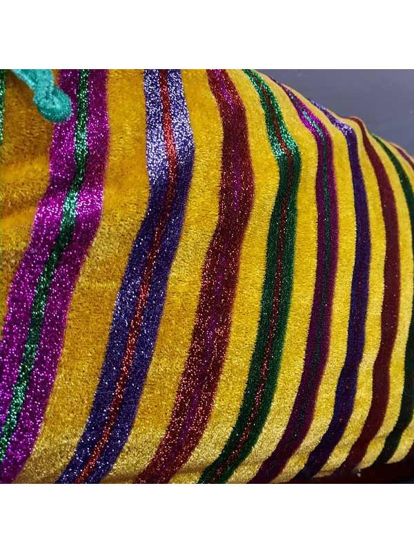 Tela terciopelo con rayas de colores mostaza