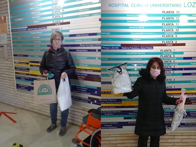 Donación de mascarillas Disfraces Bacanal en el hospital