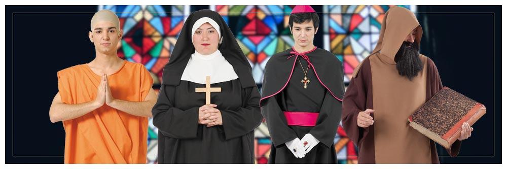 Disfraces en grupo de religiosos
