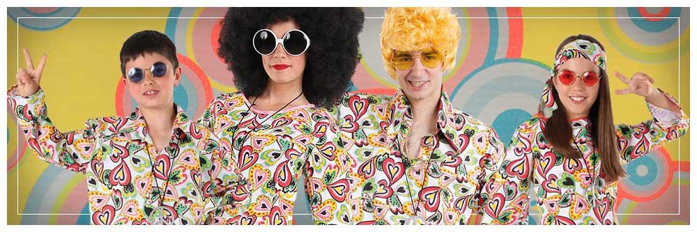 Disfraces en grupo de hippies